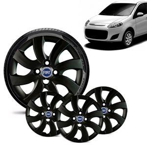 Jogo-4-Calota-Fiat-Palio-Attractive-2012-13-Aro-14-Preta-Brilhante-Emblema-Azul