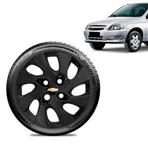 Calota-Chevrolet-GM-Celta-Aro-13-Preta-Fosca-Emblema-Preto