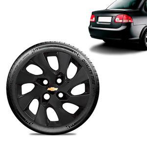 Calota-Chevrolet-GM-Corsa-Sedan-Aro-13-Preta-Fosca-Emblema-Preto