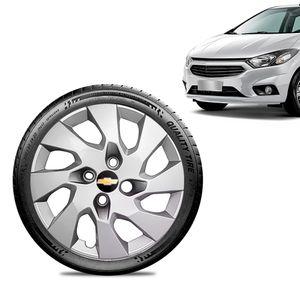 Calota-Chevrolet-GM-Prisma-2013-14-15-16-Aro-14-Prata-Emblema-Preto