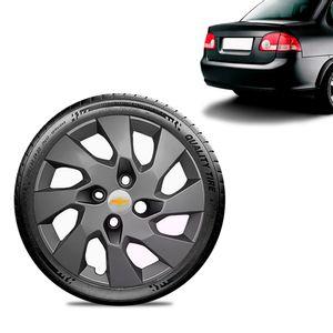 Calota-Chevrolet-GM-Corsa-Sedan-Aro-13-Grafite-Fosca-Emblema-Prata