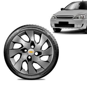 Calota-Chevrolet-GM-Corsa-Wind-Aro-13-Grafite-Fosca-Emblema-Prata