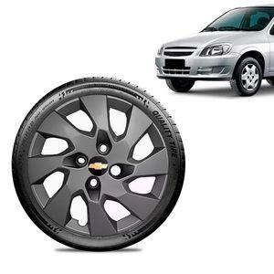 Calota-Chevrolet-GM-Celta-Aro-13-Grafite-Fosca-Emblema-Preto