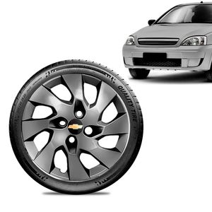 Calota-Chevrolet-GM-Corsa-Wind-Aro-13-Grafite-Fosca-Emblema-Preto