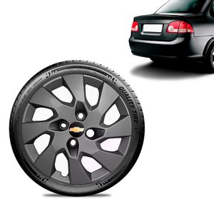 Calota-Chevrolet-GM-Corsa-Sedan-Aro-13-Grafite-Fosca-Emblema-Preto