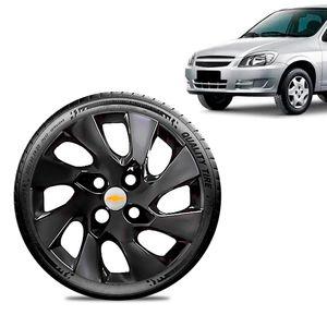 Calota-Chevrolet-GM-Celta-Aro-13-Preta-Brilhante-Emblema-Prata