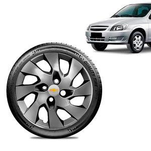 Calota-Chevrolet-GM-Celta-Aro-13-Grafite-Brilhante-Emblema-Prata
