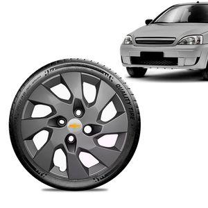 Calota-Chevrolet-GM-Corsa-Wind-Aro-13-Grafite-Brilhante-Emblema-Prata