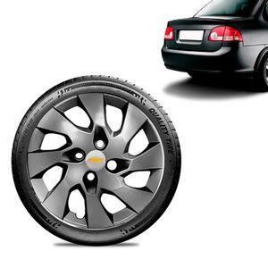 Calota-Chevrolet-GM-Corsa-Sedan-Aro-13-Grafite-Brilhante-Emblema-Prata