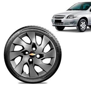 Calota-Chevrolet-GM-Celta-Aro-13-Grafite-Brilhante-Emblema-Preto
