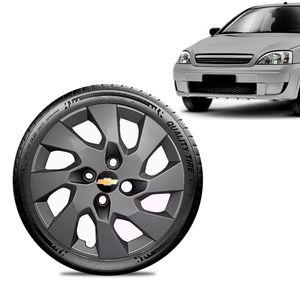 Calota-Chevrolet-GM-Corsa-Wind-Aro-13-Grafite-Brilhante-Emblema-Preto