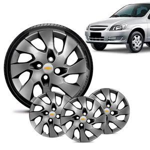 Jogo-4-Calota-Chevrolet-GM-Celta-Aro-13-Grafite-Brilhante-Emblema-Prata