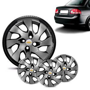 Jogo-4-Calota-Chevrolet-GM-Corsa-Sedan-Aro-13-Grafite-Brilhante-Emblema-Prata