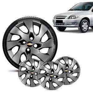 Jogo-4-Calota-Chevrolet-GM-Celta-Aro-13-Grafite-Brilhante-Emblema-Preto