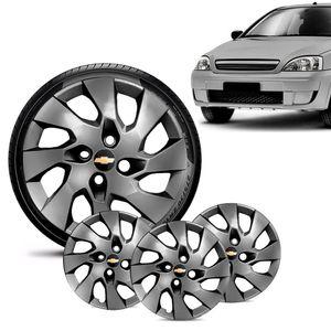 Jogo-4-Calota-Chevrolet-GM-Corsa-Wind-Aro-13-Grafite-Brilhante-Emblema-Preto