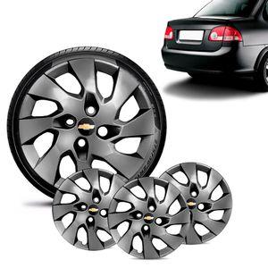 Jogo-4-Calota-Chevrolet-GM-Corsa-Sedan-Aro-13-Grafite-Brilhante-Emblema-Preto