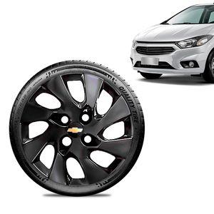 Calota-Chevrolet-GM-Onix-2013-14-15-16-Aro-14-Preta-Brilhante-Emblema-Preto