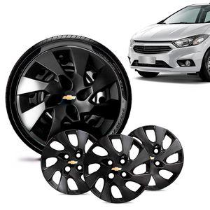 Jogo-4-Calota-Chevrolet-GM-Onix-2013-14-15-16-Aro-14-Preta-Brilhante-Emblema-Preto