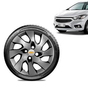 Calota-Chevrolet-GM-Onix-2013-14-15-16-Aro-14-Grafite-Brilhante-Emblema-Prata