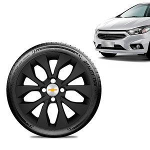 Calota-Chevrolet-GM-Onix-2017-18-19-Aro-14-Preta-Fosca-Emblema-Prata