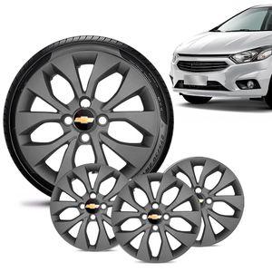 Jogo-4-Calota-Chevrolet-GM-Onix-2017-18-19-Aro-14-Grafite-Fosca-Emblema-Preto