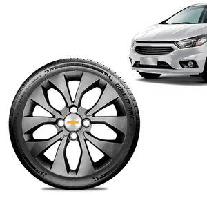 Calota-Chevrolet-GM-Prisma-2017-18-19-Aro-14-Grafite-Brilhante-Emblema-Prata