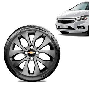 Calota-Chevrolet-GM-Onix-2017-18-19-Aro-15-Grafite-Brilhante-Emblema-Preto