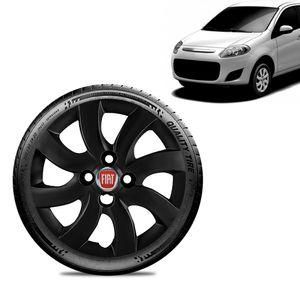 Calota-Fiat-Palio-Attractive-2012-13-Aro-14-Preta-Fosca-Emblema-Vermelho