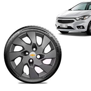 Calota-Chevrolet-GM-Onix-2013-14-15-16-Aro-14-Grafite-Fosca-Emblema-Prata