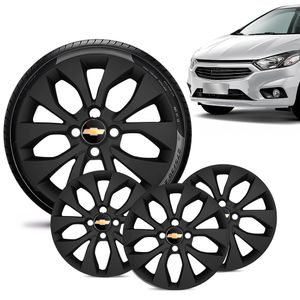 Jogo-4-Calota-Chevrolet-GM-Onix-2017-18-19-Aro-15-Preta-Fosca-Emblema-Preto