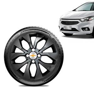 Calota-Chevrolet-GM-Prisma-2017-18-19-Aro-15-Preta-Brilhante-Emblema-Prata