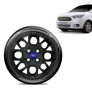 Calota-Ka-Sedan-2015-16-17-18-Aro-14-Preta-Fosca-Emblema-Azul
