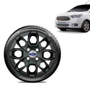 Calota-Ford-Ka---2015-16-17-18-Aro-14-Preta-Brilhante-Emblema-Prata