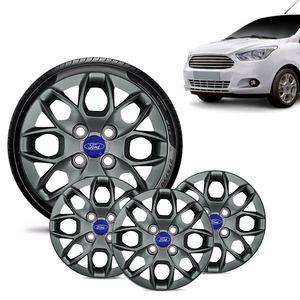 Jogo-4-Calota-Ford-Ka---2015-16-17-18-Aro-14-Grafite-Brilhante-Emblema-Azul