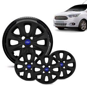Jogo-4-Calota-Ford-Ka---2015-16-17-18-Aro-14-Preta-Fosca-Emblema-Azul