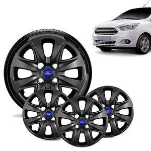 Jogo-4-Calota-Ford-Ka---2015-16-17-18-Aro-14-Preta-Brilhante-Emblema-Azul
