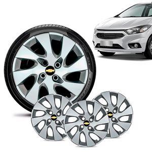 Jogo-4-Calota-Chevrolet-GM-Onix-2013-14-15-16-Aro-14-Prata-Emblema-Preto