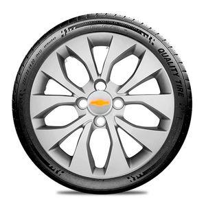 Calota-GM-Celta-Corsa-Onix-Prisma-Classic-Montana-Cobalt-Kadett-Monza-Astra-Chevelle-Chevette-Ipanema-Meriva-Sonic-Spin-Vectra-Aro-14-Prata-Emblema-Prata