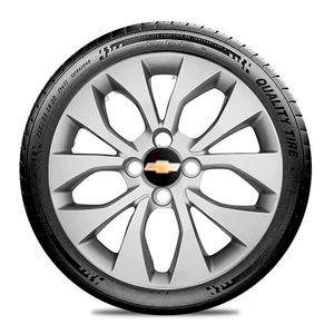 Calota-GM-Celta-Corsa-Onix-Prisma-Classic-Montana-Cobalt-Kadett-Monza-Astra-Chevelle-Chevette-Ipanema-Meriva-Sonic-Spin-Vectra-Aro-14-Prata-Emblema-Preto