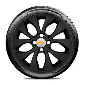 Calota-GM-Celta-Corsa-Onix-Prisma-Classic-Montana-Cobalt-Kadett-Monza-Astra-Chevelle-Chevette-Ipanema-Meriva-Sonic-Spin-Vectra-Aro-15-Preto-Fosco-Emblema-Prata