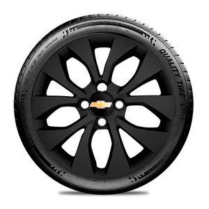 Calota-GM-Celta-Corsa-Onix-Prisma-Classic-Montana-Cobalt-Kadett-Monza-Astra-Chevelle-Chevette-Ipanema-Meriva-Sonic-Spin-Vectra-Aro-15-Preto-Fosco-Emblema-Preto