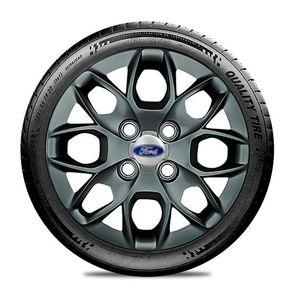 Calota-Ford-Ka-Fiesta-Ecosport-Courier-Escort-Focus-Verona-Versailes-Aro-14-Grafite-Brilhante-Emblema-Prata