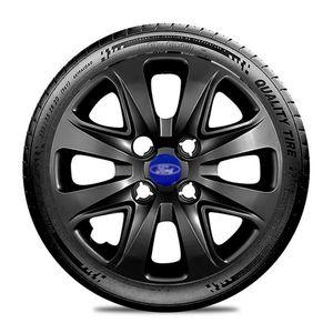 Calota-Ford-Ka-Fiesta-Ecosport-Courier-Escort-Focus-Verona-Versailes-Aro-14-Preta-Brilhante-Emblema-Azul