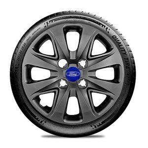 Calota-Ford-Ka-Fiesta-Ecosport-Courier-Escort-Focus-Verona-Versailes-Aro-14-Grafite-Brilhante-Emblema-Azul