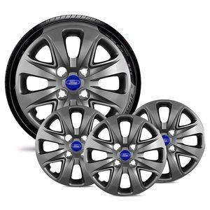Jogo-4-Calota-Ford-Ka-Fiesta-Ecosport-Courier-Escort-Focus-Verona-Versailes-Aro-14-Grafite-Brilhante-Emblema-Azul